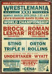 WWE Wrestlemania XXXI Poster (Vintage Style) by RicGrayDesign