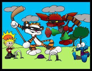 Calvin and Hobbes vs Wicket and Imp comissh by 5chmee