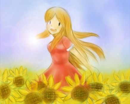 In a lot of sunflower. by riceter