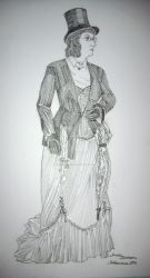 Steampunk lady with parasol and top hat by Amalias-dream