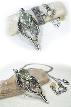 Artemis - green Amethyst and Welo Opal Necklace by FILIGRY