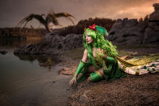 Rydia and the dragon by NadiaSK