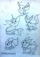 Eevolutions!!!! by blue-jellybeans