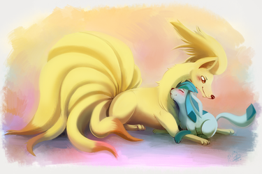 C: Ninetales and Glaceon/color by mudkip-chan