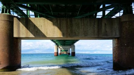 Water Under the Mackinaw Bridge by euphoricallydead