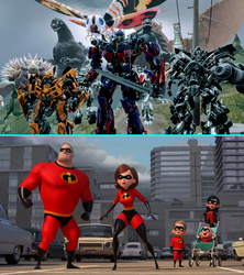 Godzilla and Transformers Meets the Incredibles by NestieBot