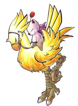 Chocobo Riding Moogle by lizspit