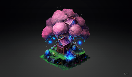 Isometric Elf Tree by Sephiroth-Art