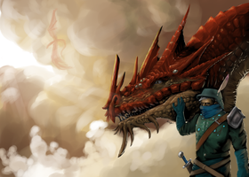 dragon and rider by hail-the-oblivious