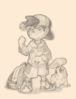 Pokemon Gold Sketch by Air-City