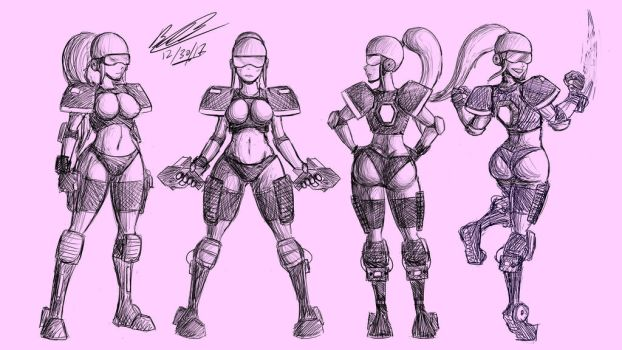More Lady Space Suit Designs by Twisted4000