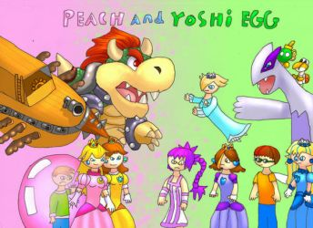 yoshi egg and peach title page by Yoshiegg603