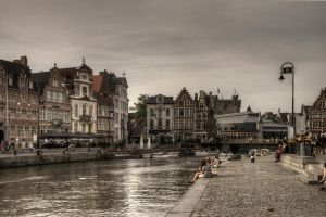 Ghent - canal by aglezerman
