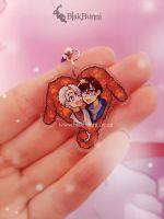 Yuri on ice Viktor and Yuri doggy heart charm by BlakBunni