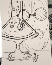 Inktober Day 5 - The Old Scientist by Ginkage