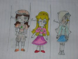 Formal wear Peach, Daisy, and Rosalina by ooPikaBoltoo