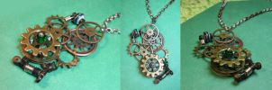 Moving Forest - Beaded Steampunk Necklace by DanielleDucrest