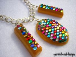 Gold Rainbow Resin Necklace by Natalie526