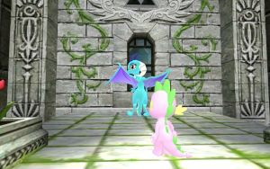 Ember and Spike In the Castle Courtyard Part 2 by Eli-J-Brony