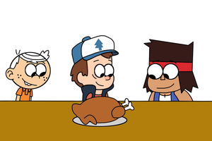 Lincoln, Dipper and K.O. with roasted turkey by MarcosPower1996