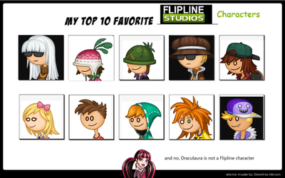 My Top 10 favorite Flipline Characters by DTLRaposa-fan-2003