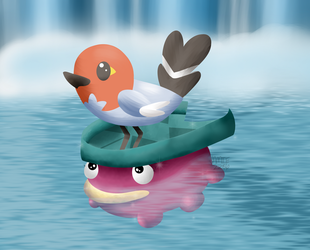 Lotad and Fletchling by Jamie2286