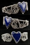 Sterling Silver and Lapis Heart Bracelet by Gailavira
