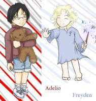 Ade and Frey as Kids Coloured by supermoon10