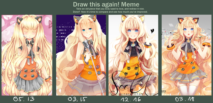 [5YearsProgress]  Draw It Again meme by Natx-chan