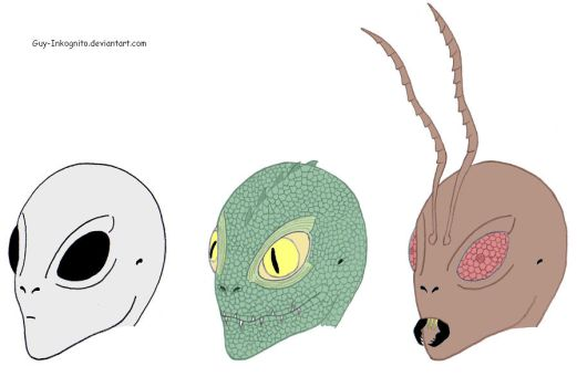 Aliens - Grey, Reptiloid, Insectoid by Guy-Inkognito