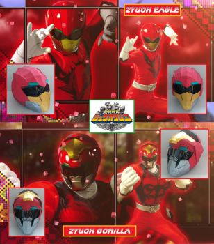 Zyuoh Eagle / Gorilla Helmet - Zyuohger by PaperRanger84
