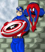 Cap and Spidey by Locoduck