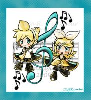 Vocaloid: Len and Rin Keychain by Otakuyume