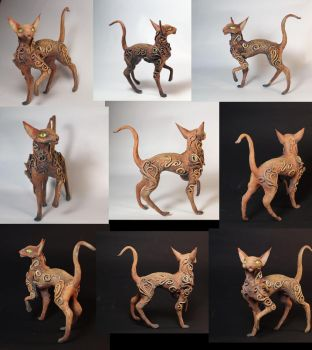 Oriental cat figurine by kessan