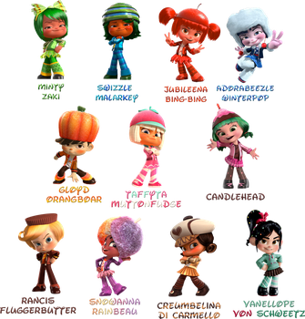 Wreck-It Ralph :Sugar Rush Speedway characters: by Xelku9