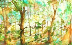 Sunny forest by Helvende