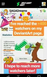 I reached with +400 watchers on DA! by SAGADreams