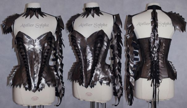 Grey leather overbust corset by AtelierSylpheCorsets