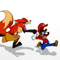 Foxy wants to eat Mario by DebbyGattaTheBest