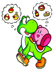 Commission - Yoshi and Kirby by JamesmanTheRegenold