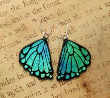 Glass Rear Butterfly Wing Earrings by FusedElegance