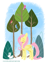 MLP - Fluttershy in the Forest by caycowa