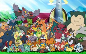 Ash with his Pokemon by 70Jack90