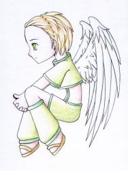 thoughtful angel color pencils by pokukene