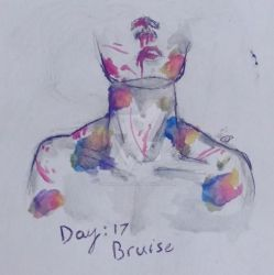 Inktober Day 17: bruise by VanillaTeaCup