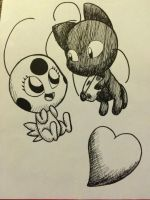 Inktober 15- Tikki and Plagg by Strikerwott12