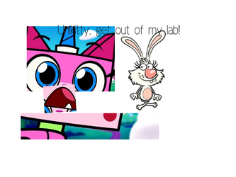 Unikitty, get out of my lab! by Lyrart323