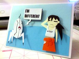 Chell and the Oracle Turret by Hatpire