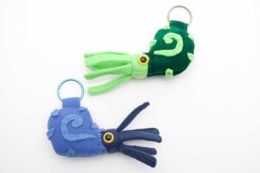 Ammonite keychains blue and green by Paleogirl