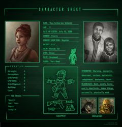 Fallout 3 Character Sheet: Thea by Isriana